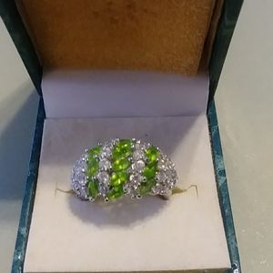 Cubic Zirconium and Peridot Silver Ring